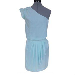 Bcbgeneration Ruffled One shoulder aqua blue